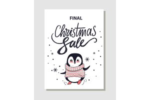 Final Christmas Sale Promo Poster with Penguin
