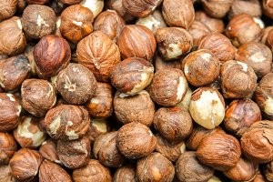 Close up top view of nuts hazelnut.