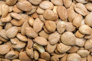 Close up top view of nuts almond.
