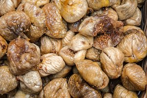 Close up top view dried dried figs.