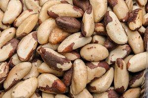 Tasty brazilian nut background.