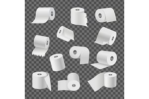 Rolls of Toilet Paper on Transparent Background