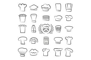 Professional Tall Chefs Hats Outline Sketches Set
