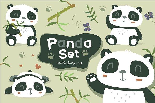 Cartoon panda set