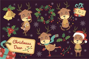Christmas deers set