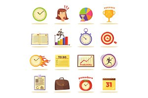 Time Management Themed Isolated Illustrations Set