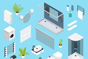 Bathroom Isometric Icon Set