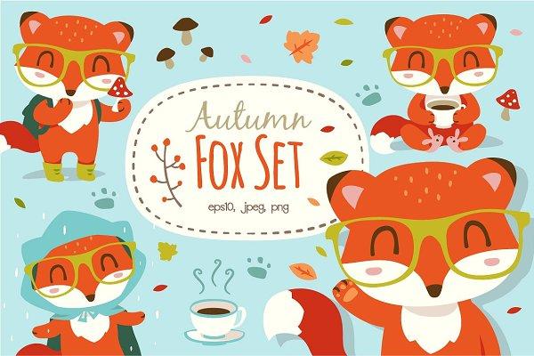 Cartoon autumn fox set