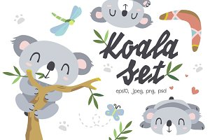 Cartoon koala set