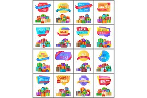 Hot Exclusive Price Labels Posters with Gift Boxes