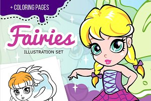 Cartoon fairies set