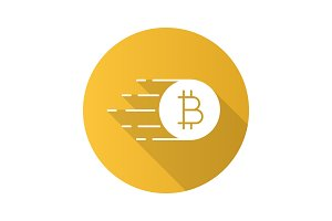 Flying bitcoin flat design long shadow glyph icon