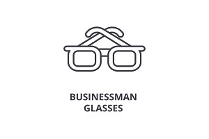 businessman glasses line icon, outline sign, linear symbol, vector, flat illustration