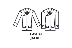 casual jacket line icon, outline sign, linear symbol, vector, flat illustration