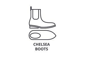 chelsea boots line icon, outline sign, linear symbol, vector, flat illustration
