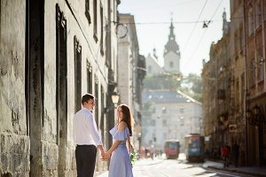 Couple walking around the city
