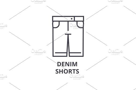Denim Shorts Line Icon Outline Sign Linear Symbol Vector Flat Illustration