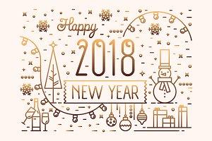 Happy New Year horizontal banner