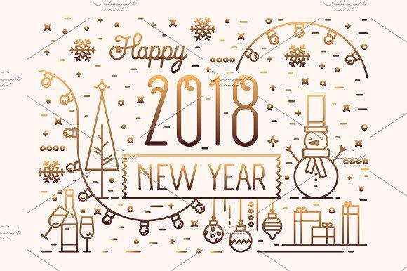 Happy New Year horizontal banner ~ Illustrations ~ Creative Market