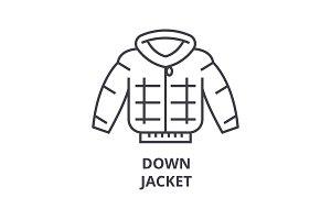 down jacket line icon, outline sign, linear symbol, vector, flat illustration