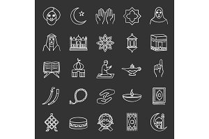Islamic culture chalk icons set