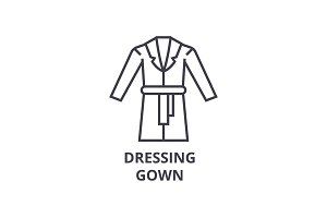 dressing gown line icon, outline sign, linear symbol, vector, flat illustration