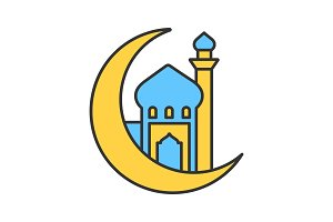 Mosque with ramadan moon color icon