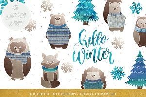 Winter Forest Animal & Snow Clipart
