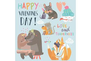Cute animals couples in love collection