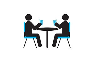 People drinking at table silhouette icon