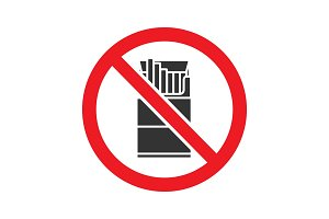 Forbidden sign with pack of cigarettes glyph icon