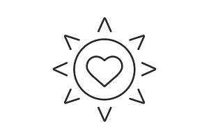 Sun with heart linear icon