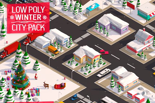 3D Models: Anton Moek - Low Poly City Winter Pack