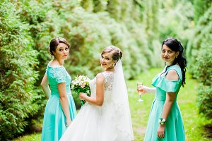 Sweet bride and bridesmaids