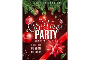 Christmas party poster with hand lettering sign, xmas balls, snow, snowflakes