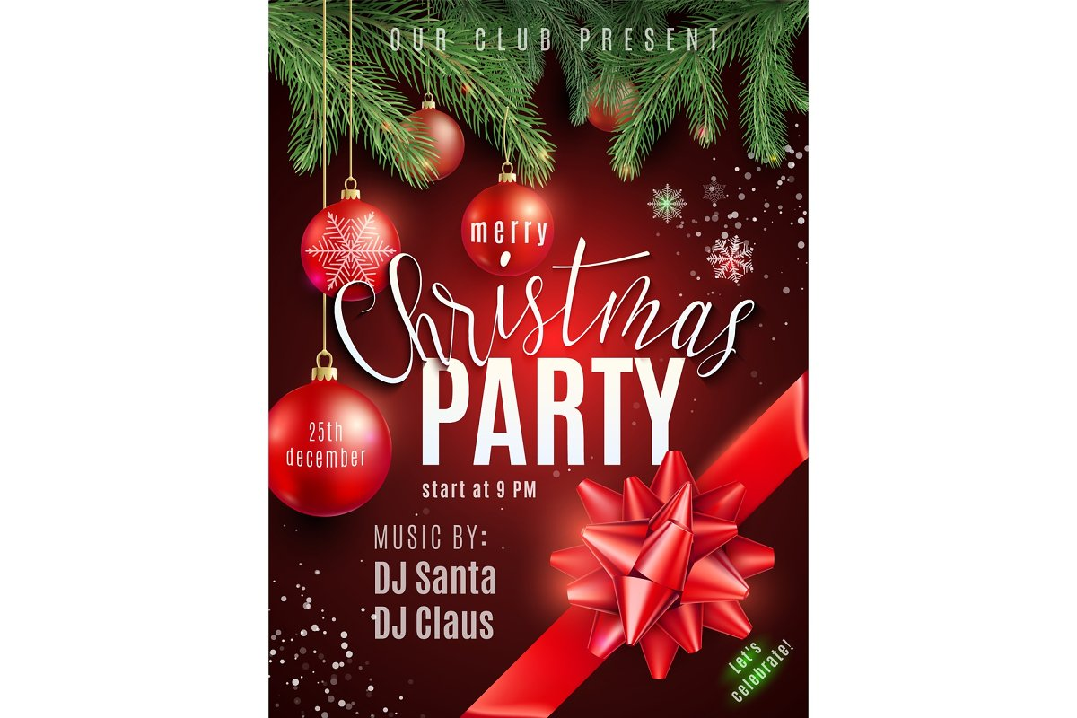 Christmas Party Poster.Christmas Party Poster With Hand Lettering Sign Xmas Balls Snow Snowflakes