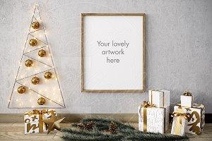 "Merry CHRISTMAS mockup GOLD 8x10"""