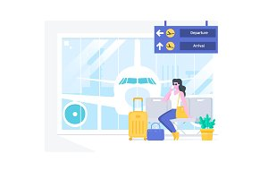 Airport passenger terminal and waiting room.Beautiful woman talking on the phonewaiting for her plane at the airport. Vector illustration