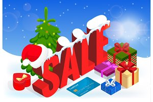 Winter christmas sale banner, vector illustration. Winter shopping concept. Shopping, offer, discount background