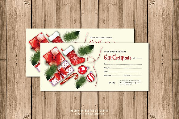 Gift certificate card template card templates creative market gift certificate card template cards yadclub Images