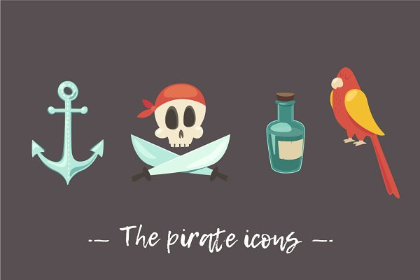 Set of 9 cute pirate icons