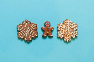snowflakes and gingerbread man