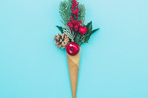 decoration in ice cream cone.