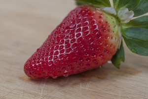 Strawberry on wooden table