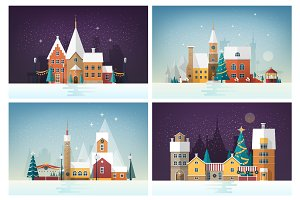 Winter cityscapes with holiday