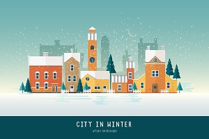 Beautiful urban landscape in winter