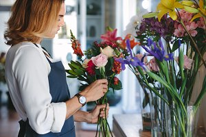 Florist preparing a bouquet
