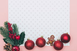 Christmas decoration on pink