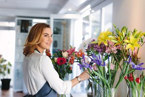 Florist owner making a new floral