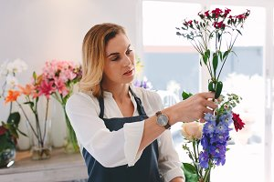 Female working at flower shop